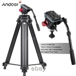 Andoer 72 Pro Camera Tripod for DV DSLR Video Stand Fluid Pan Head with Carry Bag