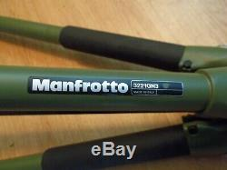 Bogen Manfrotto 3221GN3 Tripod with 486RC2 Ball Head NEAR MINT Condition OD Green