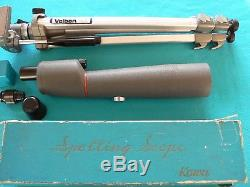 KOWA TS2 SPOTTING SCOPE with 2 EYEPIECES & VELBON TRIPOD GREAT VINTAGE OUTFIT