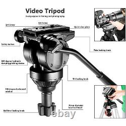 Neewer 61 Tripod with 360 Degree Fluid Drag Head, 1/4 3/8Quick Release Plate