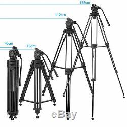 Professional Heavy Duty Camcorder Camera Tripod with Fluid Head Kit 72 Inch
