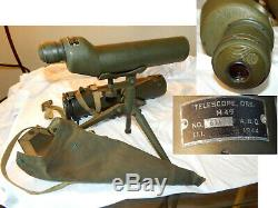 Wwii Us Army Spotting Scope 20x Sniper Observation 1944 Tripod & Cases M-49